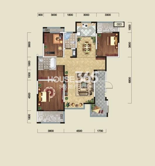 金泰新理城K1户型3室2厅2卫1厨 136.00㎡