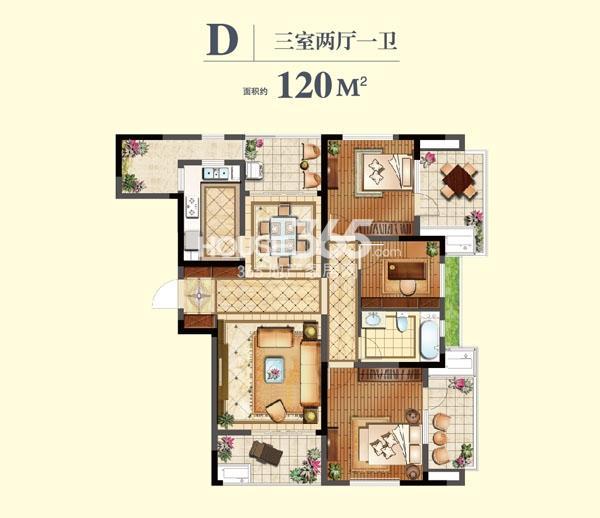 虹锦湾D户型三室两厅两卫  120平米