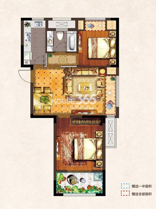 河枫御景B1-76.27平-2房2厅1卫