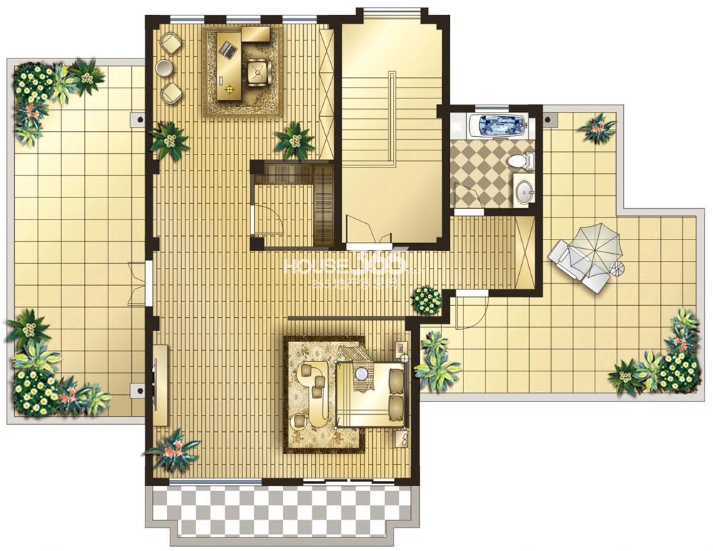 双银国际金融城25幢墅式会所户型  三层