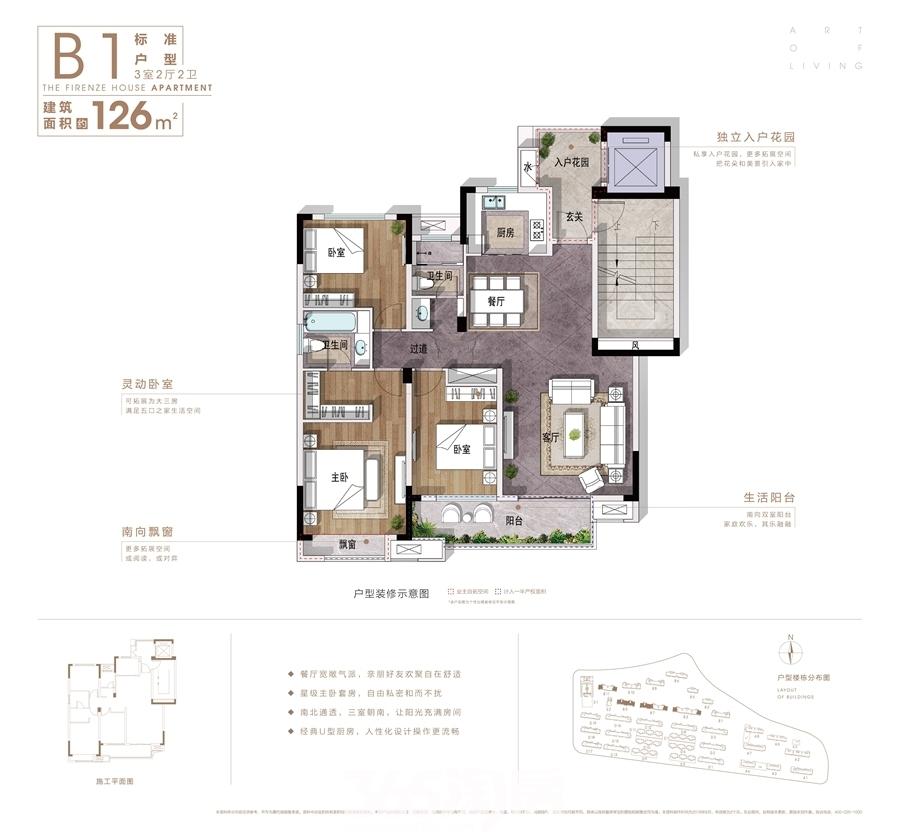 信达翡丽世家B1面积约126平户型图