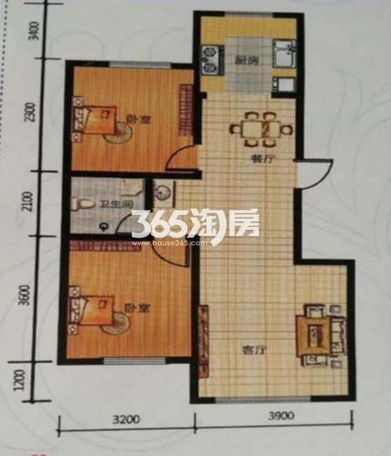 两室两厅一卫 88.44平
