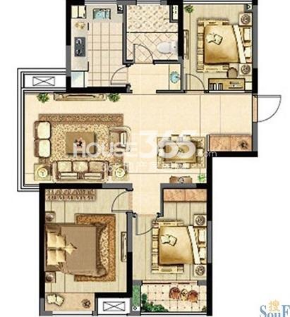 汇鸿·香榭湾D1户型(三室两厅一卫)3室2厅1卫1厨 96.00㎡