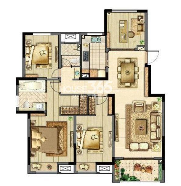 汇鸿·香榭湾C1户型(四室两厅两卫)4室2厅1卫1厨 125.00㎡