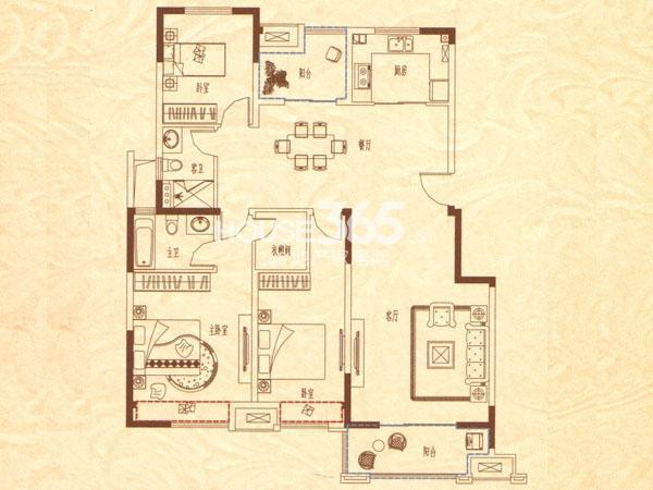 户型图 D3-a户型 三室二厅二卫 140
