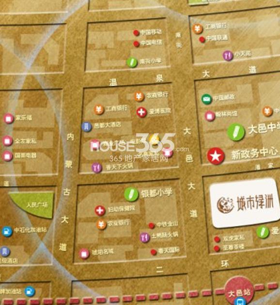 祥荣城市绿洲交通图