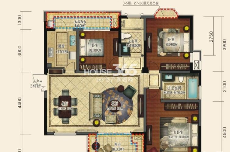 中环岛1、5号楼B2户型3室2厅2卫1厨 122.00㎡
