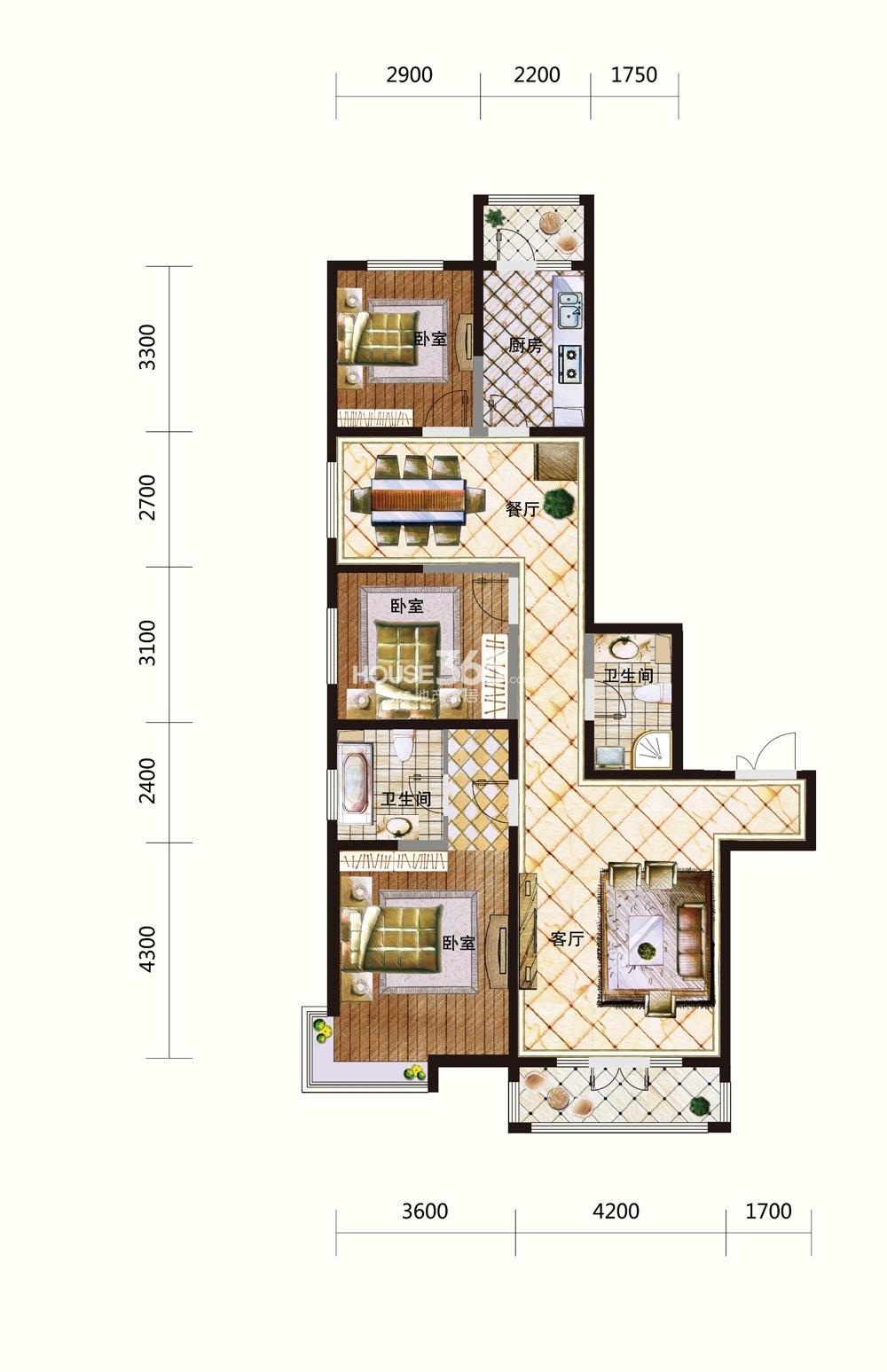 五矿紫晶御府三室两厅两卫148平米户型