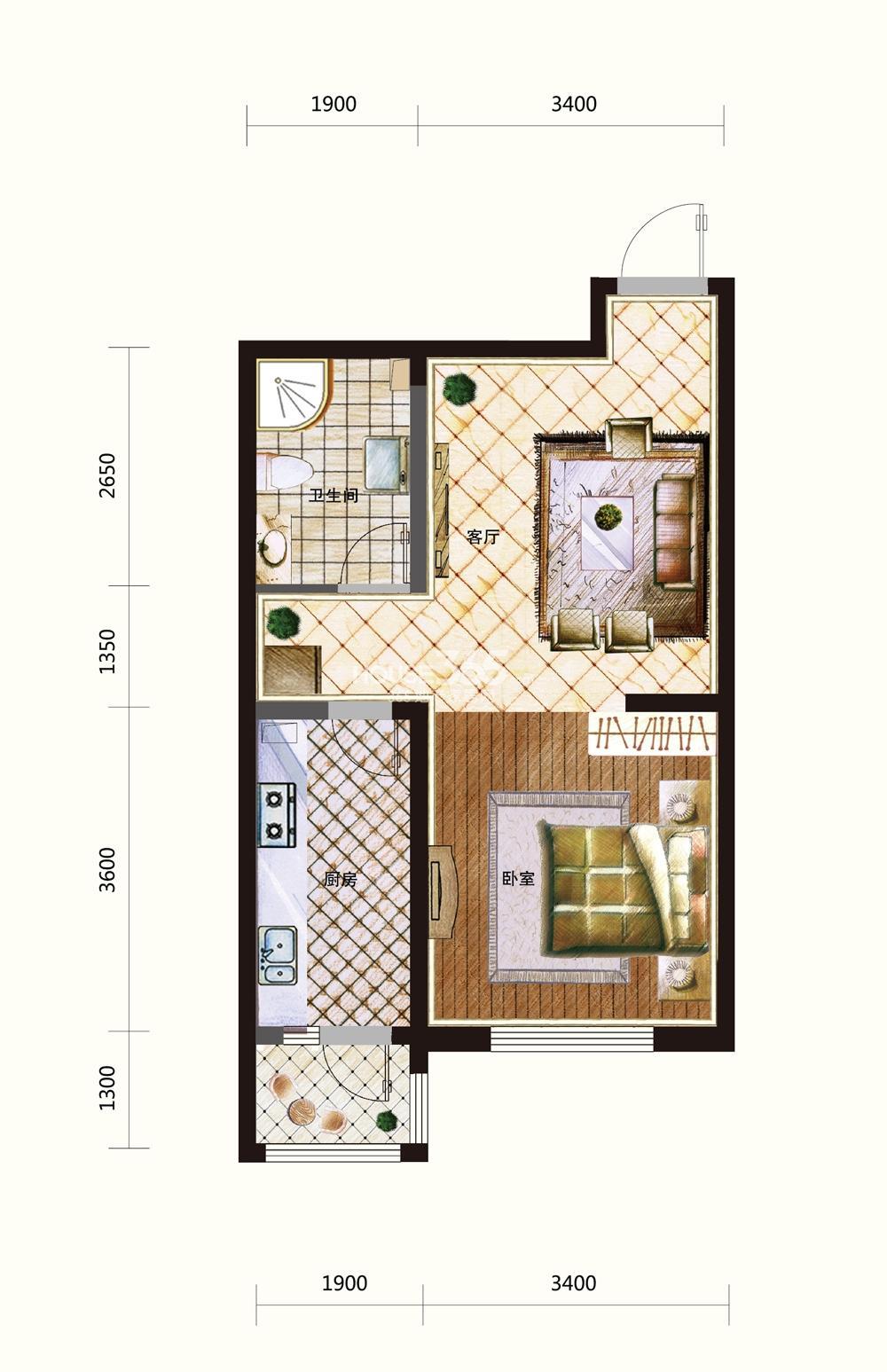 五矿紫晶御府一室一厅一卫60平米