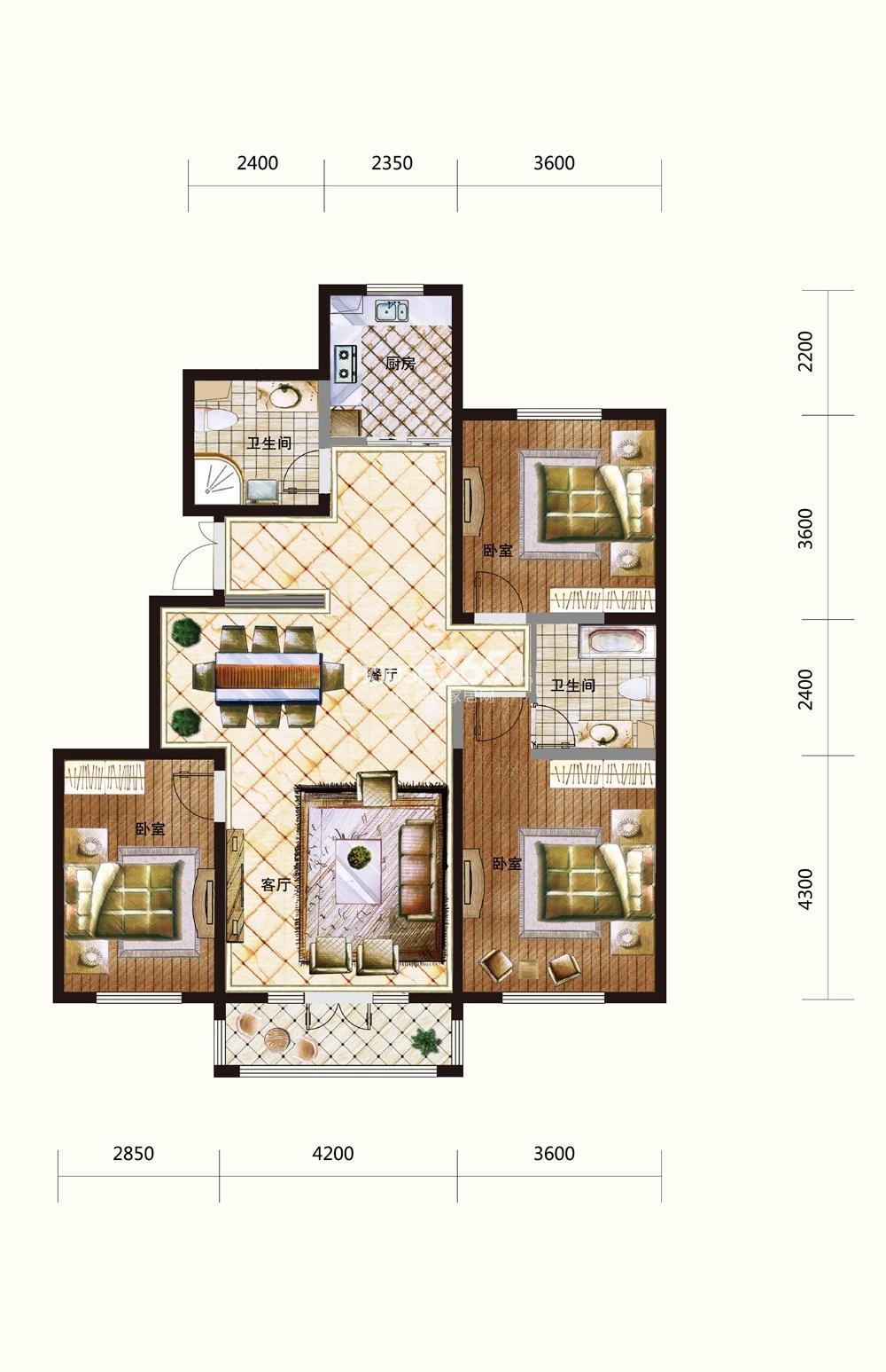 五矿紫晶御府三室两厅两卫146平米户型