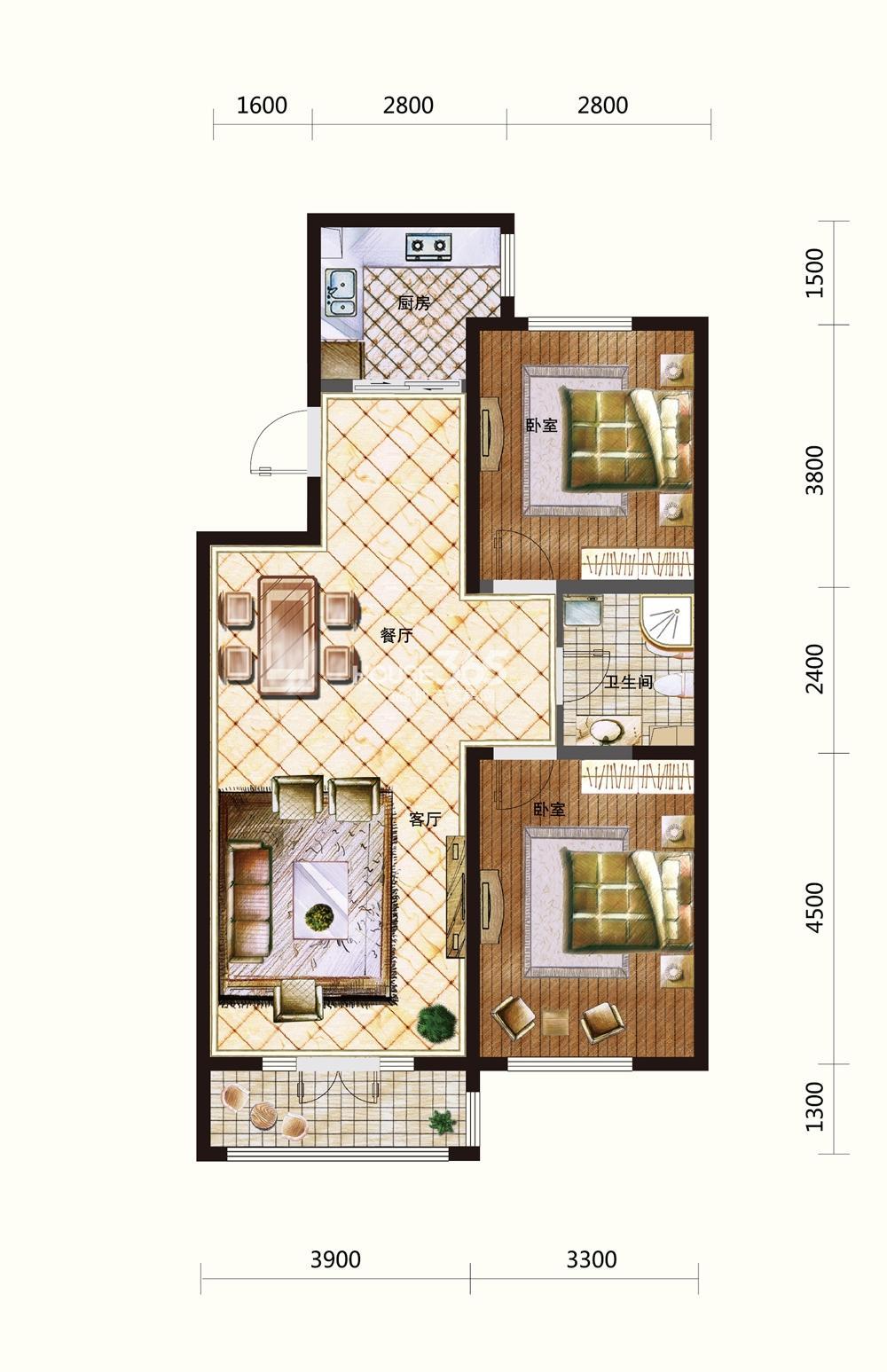 五矿紫晶御府两室两厅一卫111-113平米