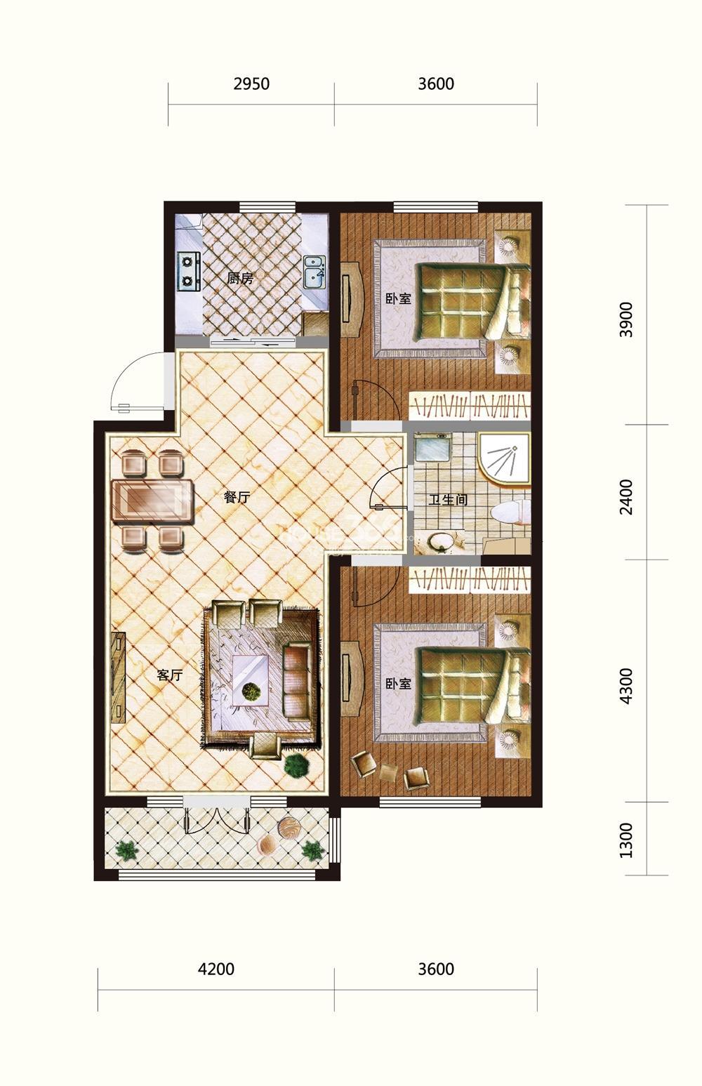 五矿紫晶御府两室两厅一卫115平米