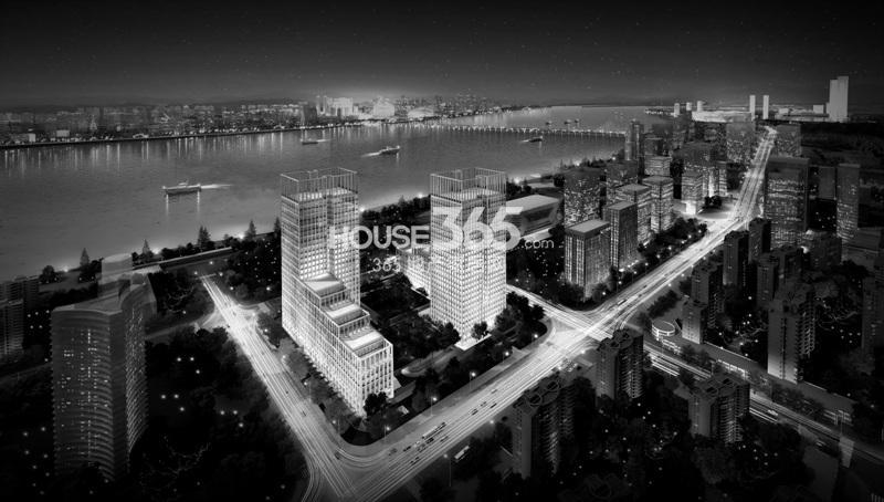 浙大网新双城国际黑白夜景效果图