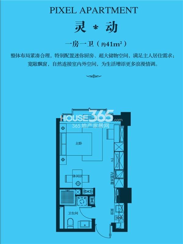 新城首府国际公寓灵动-一房一卫(约41㎡)户型图