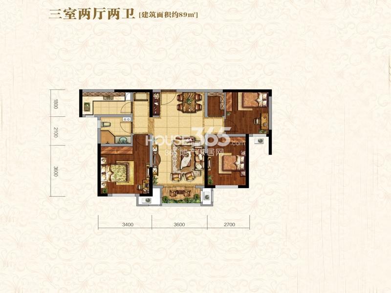 中海城B地块凯旋门B6户型3室2厅2卫1厨 89.00㎡
