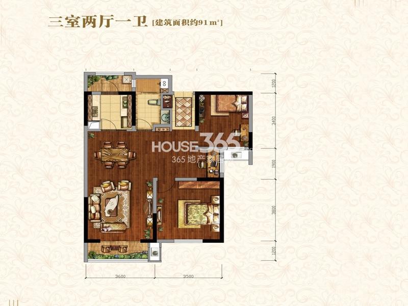 中海城B地块凯旋门B3户型3室2厅1卫1厨 91.00㎡