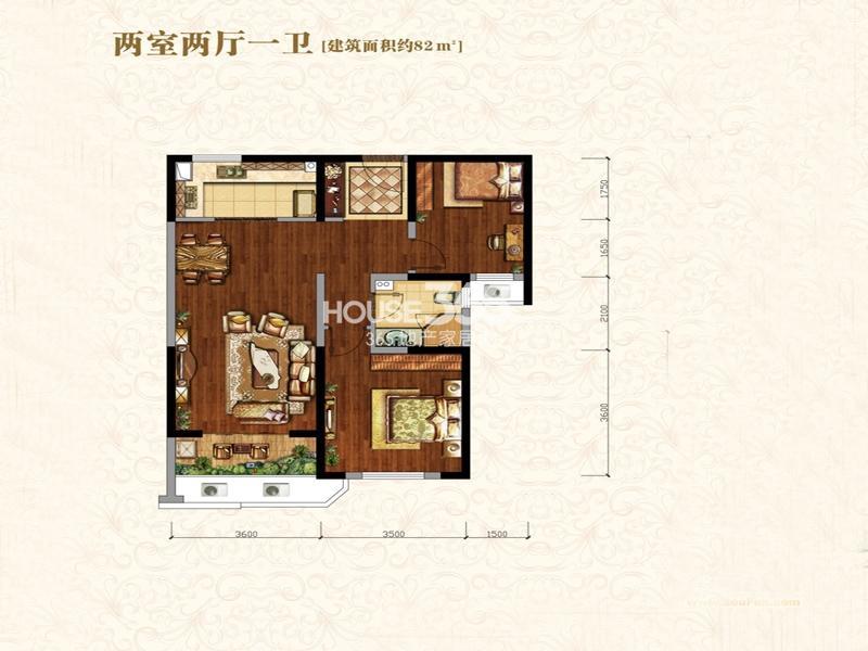 中海城B地块凯旋门A3户型2室2厅1卫1厨 82.00㎡