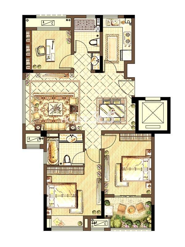 新城春天里洋房户型 三室两厅两卫 110平