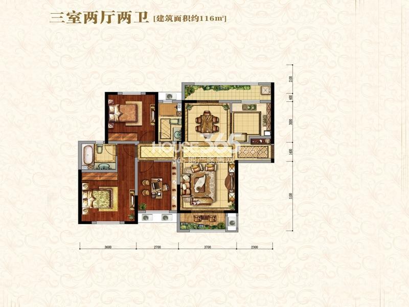 中海城B地块凯旋门B4户型3室2厅2卫1厨 116.00㎡
