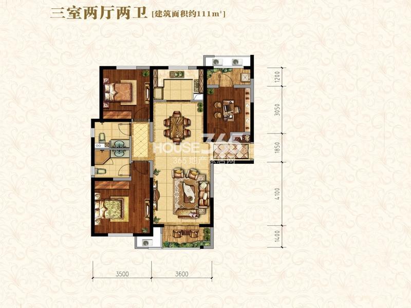 中海城B地块凯旋门A1户型3室2厅2卫1厨 111.00㎡