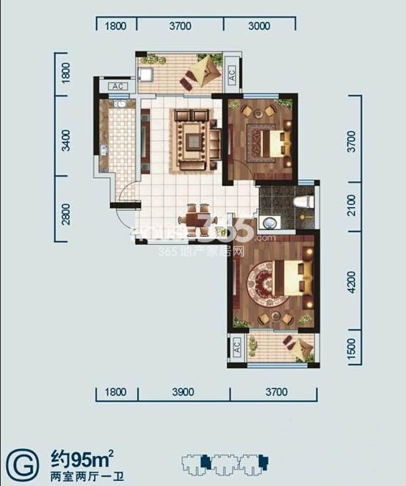 金泰新理城G 户型图2室2厅1卫1厨 95.00㎡
