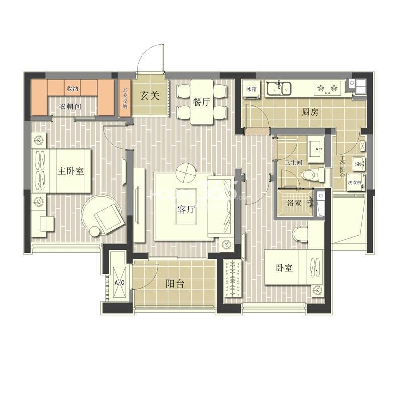 北极星花园1#楼标准层B2户型2室2厅1卫1厨 89.00㎡