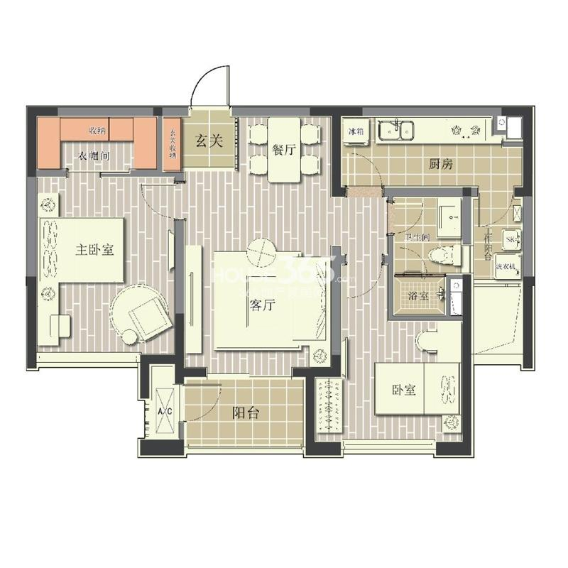 北极星花园13#楼标准层D2户型2室2厅1卫1厨 94.00㎡