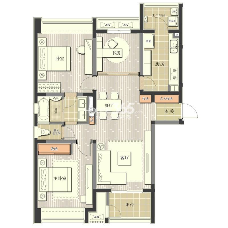 北极星花园1#楼标准层A1户型3室2厅1卫1厨 113.00㎡