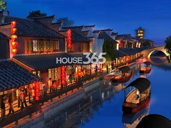 新华联老街沿河夜景效果图