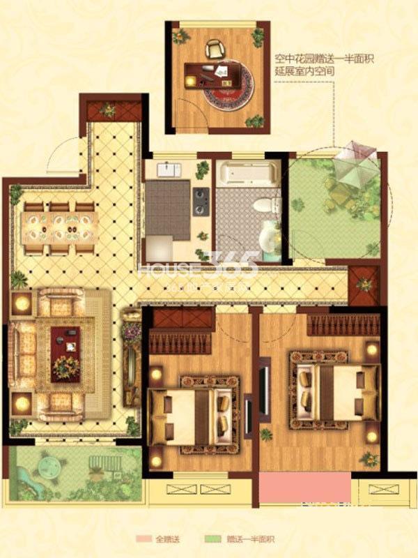 御城36#楼B户型 3室2厅1卫 107.00㎡