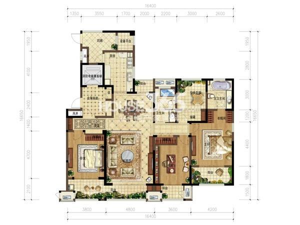 弘阳广场7#楼 3+1室2厅2卫 197㎡