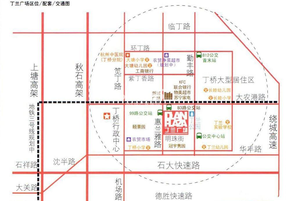 丁兰广场交通图