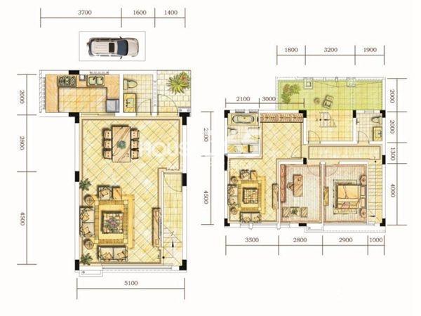 世茂林屿岸E户型4F&5F3室2厅2卫1厨 119.00㎡