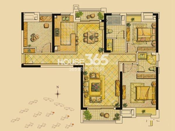世茂林屿岸117平米户型3室2厅2卫1厨 117.00㎡