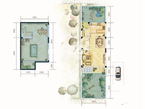 世茂林屿岸A户型-1F&1F4室2厅3卫1厨 162.00㎡