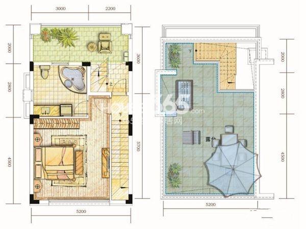 世茂林屿岸D户型5F&6F3室2厅2卫1厨 125.00㎡