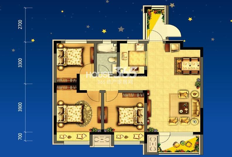 美的城c3户型3室2厅1卫 97.00㎡