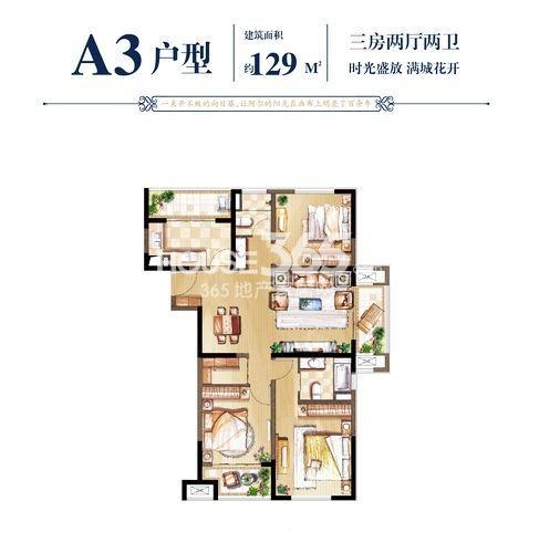 A3户型129㎡三房两厅两卫