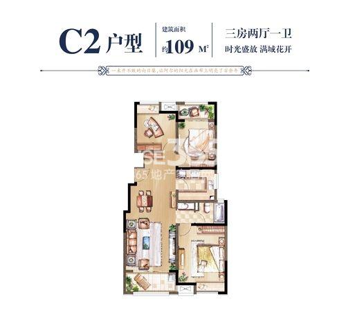 C2户型109㎡三房两厅一卫