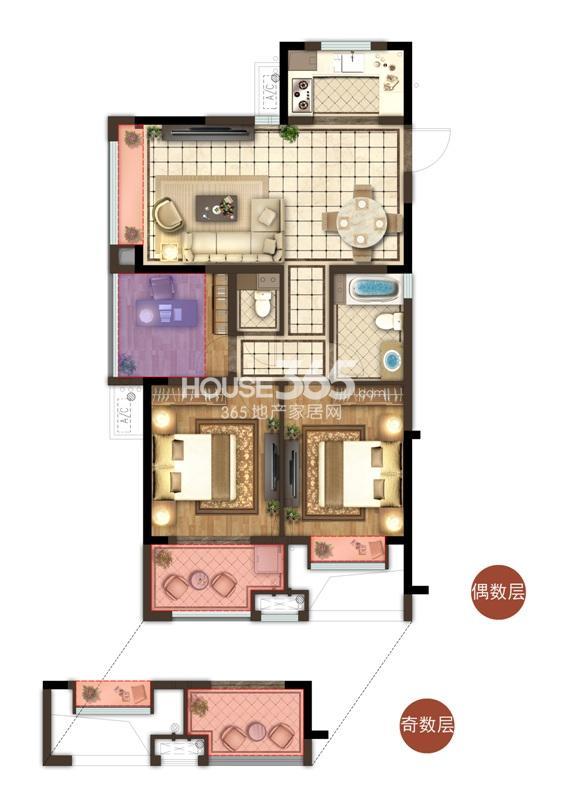 宋都香悦郡项目2、3、10号楼边套B1户型 89方 三房两厅两卫