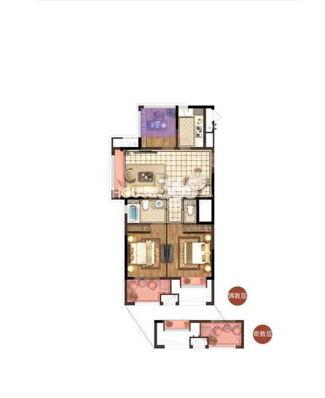 宋都香悦郡项目1号楼边套B3户型 89方 三房两厅两卫