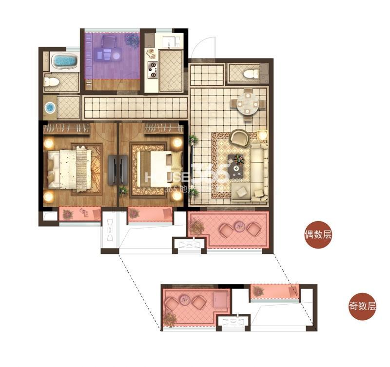 宋都香悦郡项目2、3、10号楼中间套B2户型 89方 三房两厅两卫