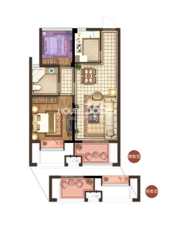 宋都香悦郡项目1号楼中间套C1户型 72方 两房两厅一卫