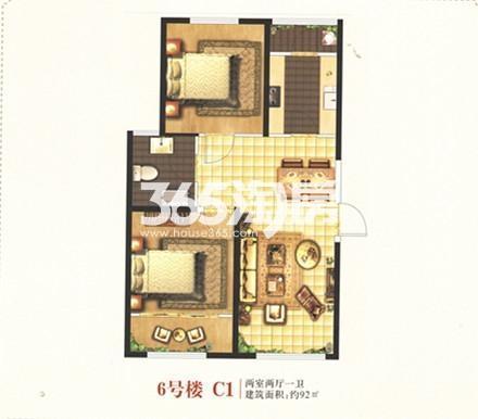 6号楼C1户型 两室两厅一卫 92㎡