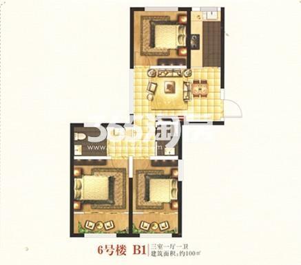 6号楼B1户型 三室一厅一卫 100㎡