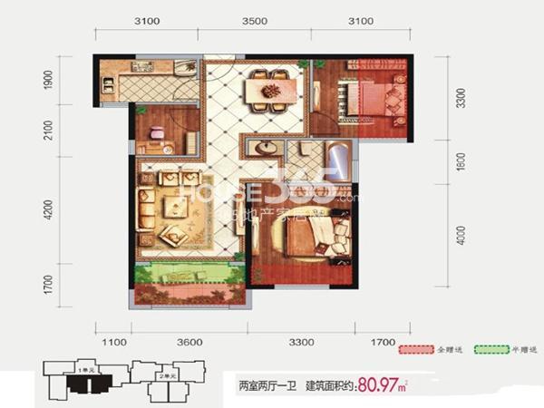 隆源国际城9#1单元标准层户型图