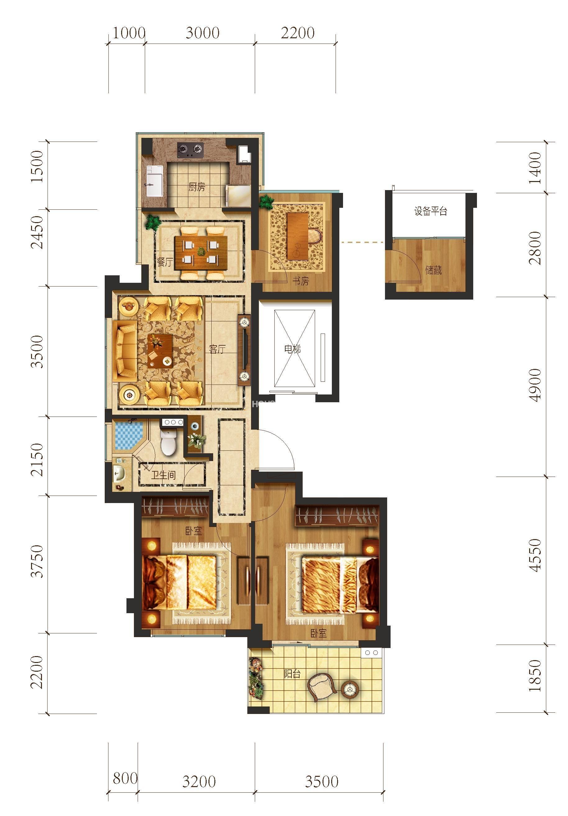 望江府1号楼A4户型 89方 三房二厅一卫