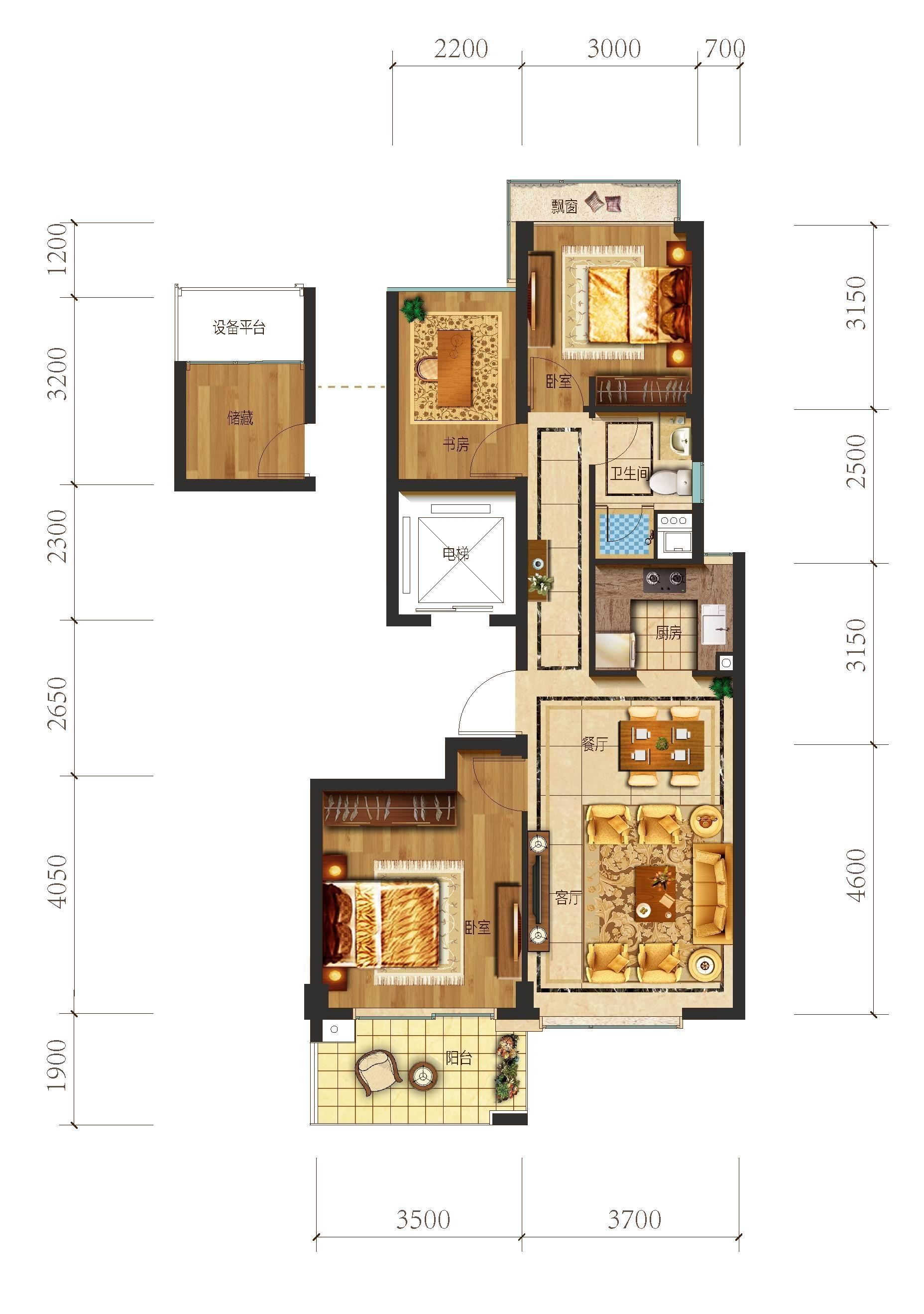 望江府1、7号楼 A1户型 89方 三房二厅一卫