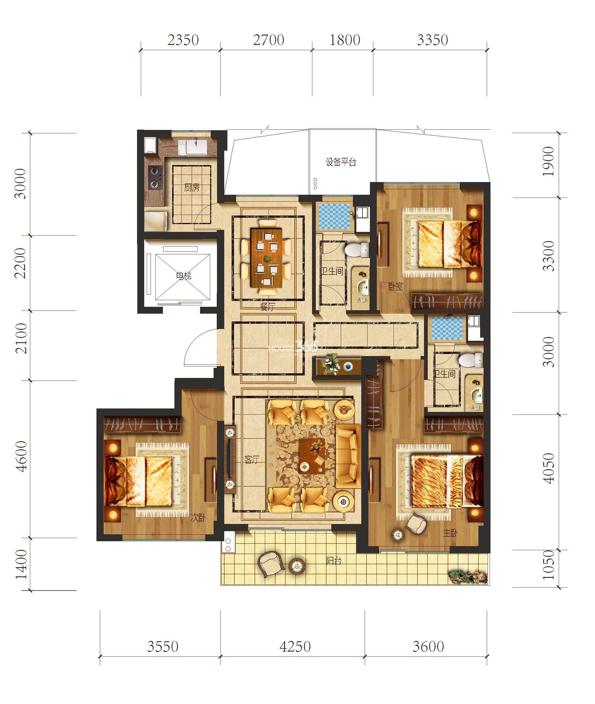 望江府3、5号楼 华府B3户型 139方 三房二厅二卫