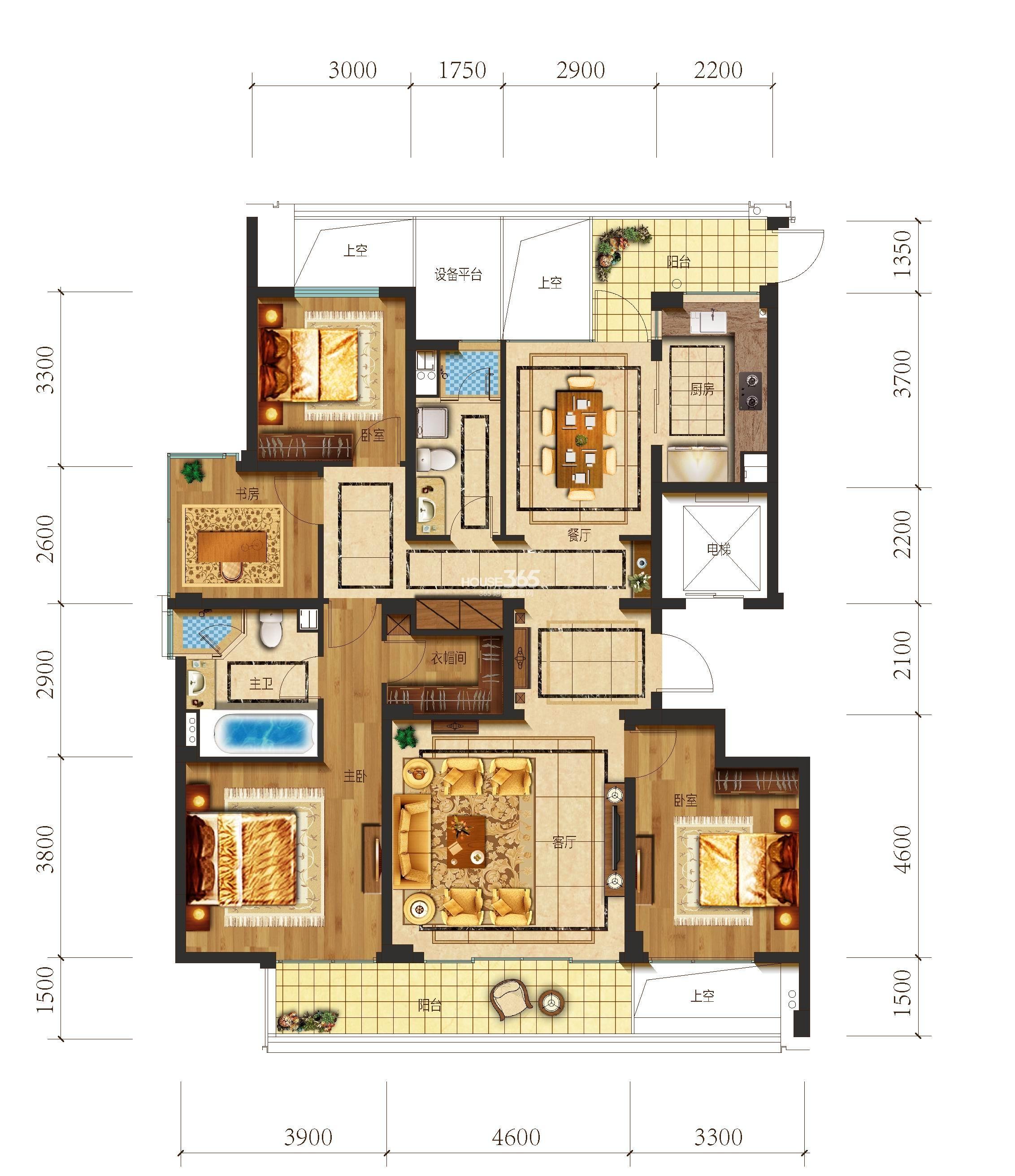 望江府2、4号楼 华府C户型 160方 四室二厅二卫